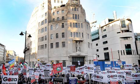 protest outside broadcasting house